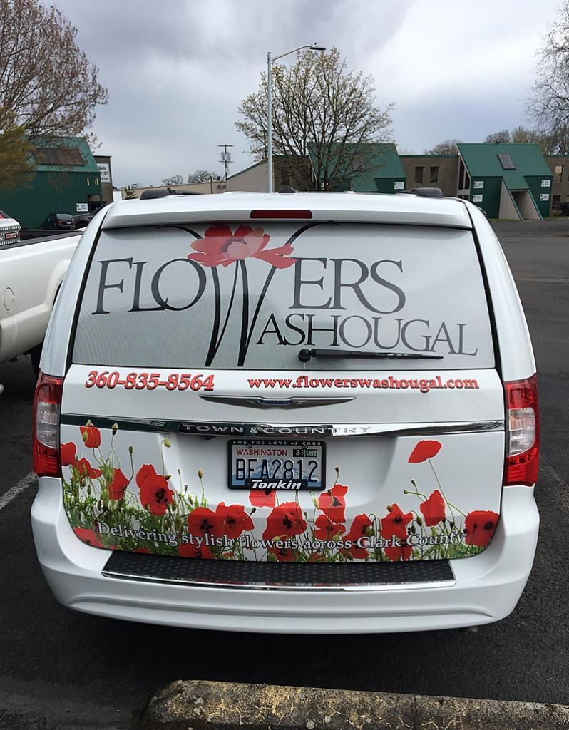 Flowers Washougal shows that a successful vehicle wrap must be actionable