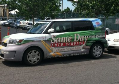 Same Day Auto Scion vehicle wrap by Cascade Wraps