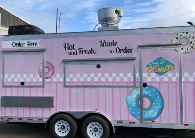 Cascade Wraps Auntie Ems pink food trailer