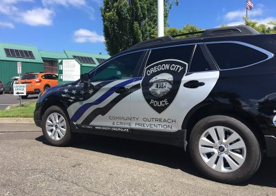 Oregon City Police Subaru wrap side