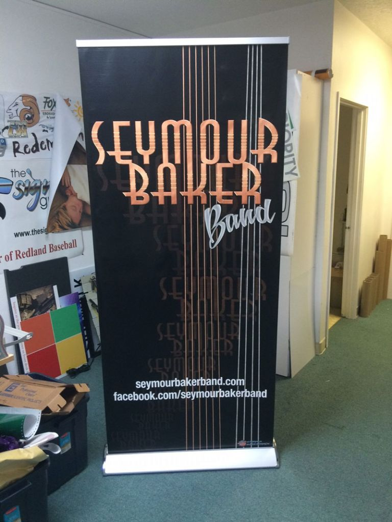 Vinyl banner for Seymour Baker Band