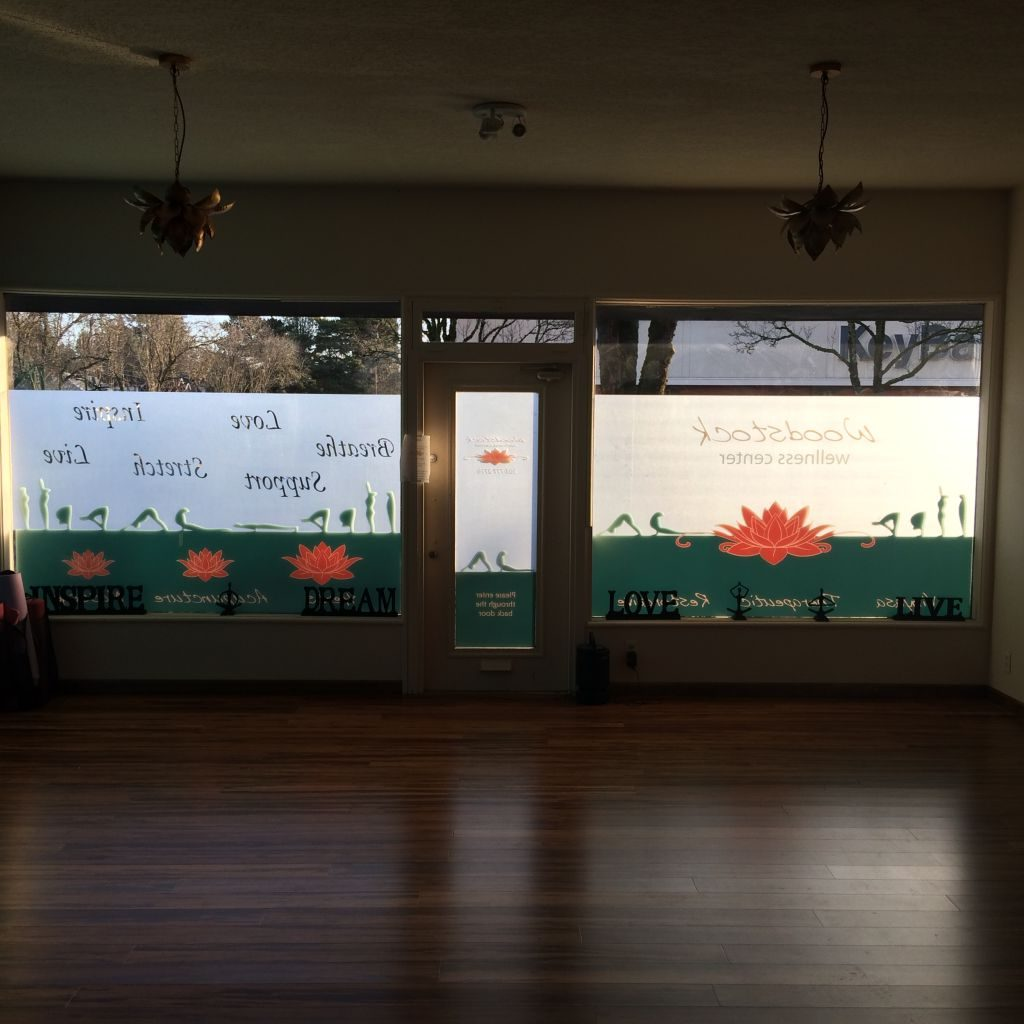 Woodstock Wellness Window Graphics by The Sign Guy 1